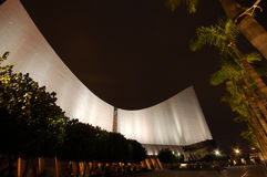 Curve Shape Landmark Architechture. Hong Kong's landmark architecture - Cultural Centre at night royalty free stock image