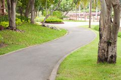 Curve sidewalk in the park. Sidewalk around the park Royalty Free Stock Photos