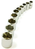 Curve of sockets from ratchet set Royalty Free Stock Images