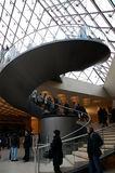Curve stairway inside Louvre. Curve stairway at entrance area of Louvre museum Paris, France on 16 February,2010 Royalty Free Stock Photography
