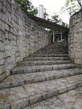 Curve stone stairway. Lead to the covered walkway Stock Photography