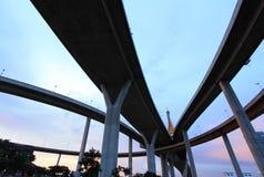 The curve of suspension bridge Stock Photos