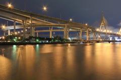 Curve of suspension bridge Stock Photos