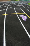 Curve Track Lanes. A picture of a brand new running track Stock Photos