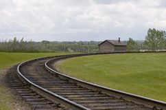 Curve in the Tracks. A curve in a set of railway tracks Royalty Free Stock Images