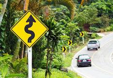 Curve traffic sign Royalty Free Stock Photo