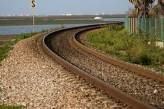 Curve train rail royalty free stock photography