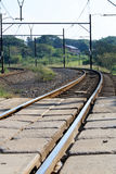 Curve train tracks. Before sunset stock image