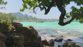 Curve Tree and Rocks Bay of a Tropical Beach Wilderness. Surf of Azure Sea in Thailand. 4k UHD stock footage