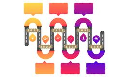 6 curve tunnel way roadmap timeline elements with markpoint graph think search gear target icons. vector illustration eps10. 6 curve tunnel way roadmap timeline royalty free illustration