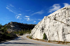 Curve uphill street at Yosemite, California Royalty Free Stock Photo
