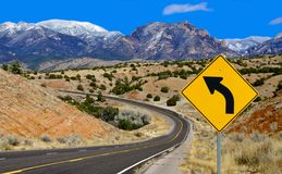 Curve Warning Sign Stock Photo