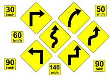 Curve Warning Signs Royalty Free Stock Photo
