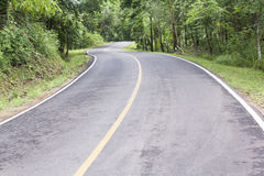 Curve way of asphalt road through the tropical forest . Stock Photo