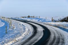 Curve winter road Royalty Free Stock Image