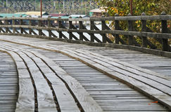Curve of wooden bridge Royalty Free Stock Photo