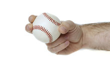 Curveball Grip. Illustrates how to hold a baseball to throw a curveball Royalty Free Stock Images