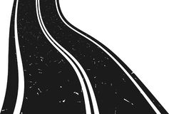 Curved asphalt road going to the distance. Abstract curved asphalt road going to the distance. Vector illustration royalty free illustration
