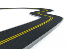 Curved asphalt road. Isolated on white background stock photo