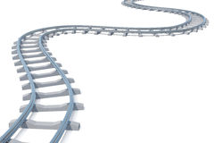 Curved, bend railroad track isolated on white background. 3d illustration. Curved, bend railroad track isolated on white background, 3d illustration Stock Photography