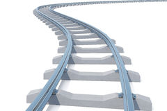 Curved, bend railroad track isolated on white background. 3d illustration Royalty Free Stock Image