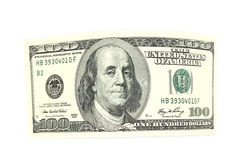 Curved bill hundred dollars Stock Image