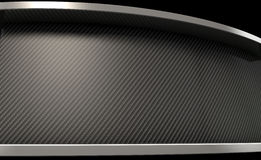 Curved Carbon Fibre And Chrome. An abstract curved section of carbon fibre with chrome trim and copy space stock illustration