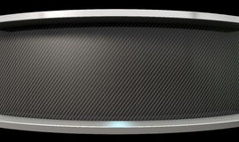 Curved Carbon Fibre And Chrome. An abstract curved section of carbon fibre with chrome trim and copy space vector illustration