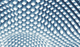 Curved ceiling surface formed by white columns array, 3d Stock Photo
