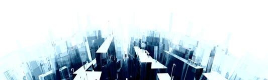 Curved City Skyline Stock Photo