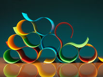 Curved, colorful sheets of paper with reflexions. Background image of colorful origami pattern made of curved sheets of paper, with mirror reflexion Stock Images