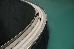 Curved concrete dam Stock Photo