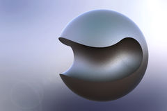 Curved-Cut Metal Ball. Beautiful abstract illustration of curved-cut metal ball stock illustration