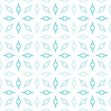 Curved Diamonds Pattern. Abstract geometric pattern of light blue curved diamonds set in sunburst-like shapes on white background. Seamless repeat Stock Image