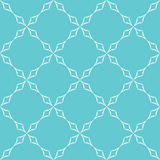 Curved Diamonds Pattern. Abstract geometric pattern. Trellis of white curved diamonds on light blue background. Seamless repeat Royalty Free Stock Photos