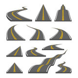 Curved and direction highway with markings Royalty Free Stock Photos