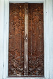 Curved door of Thai church in Chinese style Royalty Free Stock Photography