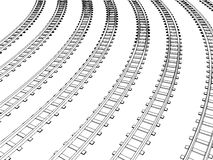 Curved endless Train track. Vector Royalty Free Stock Photography
