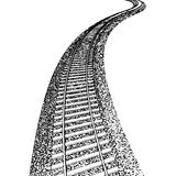 Curved endless Train track Stock Photo