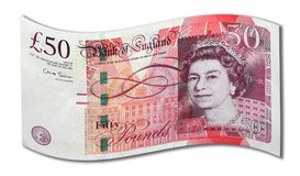 Curled Fifty Pound Note royalty free stock image