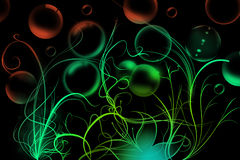 Curved flowers and soap bubbles Royalty Free Stock Photo