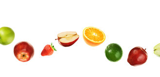 Curved fruit line. Different fruits isolated on white Royalty Free Stock Image