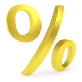 Curved golden percent sign Stock Photo