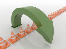 Curved Green Arrow Symbol Over Traffic Cones , Solution and Libe Royalty Free Stock Image