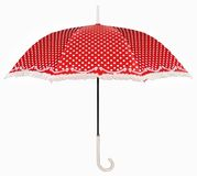 Curved handle red umbrella Stock Images