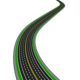 Curved highway. In perspective. Yellow and white markings illustration Stock Photo