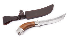 Curved hunting knife and sheath isolated Royalty Free Stock Photos