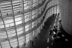 Curved interior with black and white. The National Art Museum in Tokyo,Japan Royalty Free Stock Photography