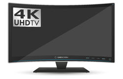 Curved 4K UHD Ultra High Definition TV on White Background Royalty Free Stock Photography