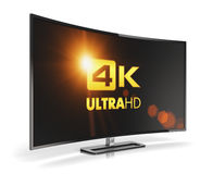 Curved 4K UltraHD TV. Creative abstract ultra high definition digital television screen technology concept: curved 4K UltraHD TV or computer PC monitor display Royalty Free Stock Images